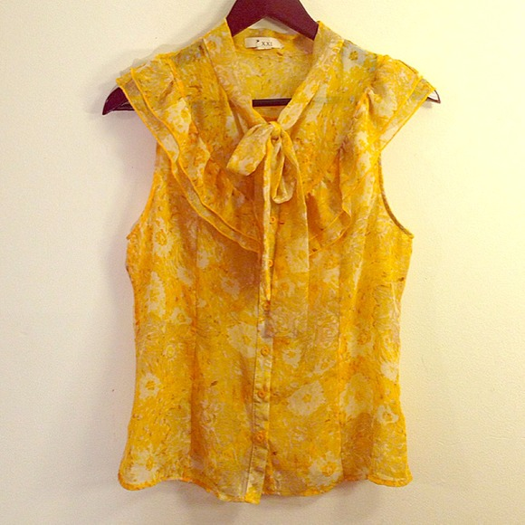 Forever 21 Tops Yellow Floral Bow Blouse Poshmark