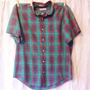 Red & Green Plaid Button Up