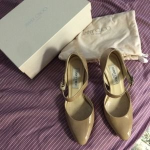 Jimmy Choo patent leather nude heels 36.5