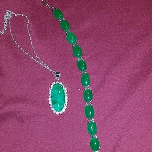 Jewelry - Sterling silver and jade necklace and bracelet