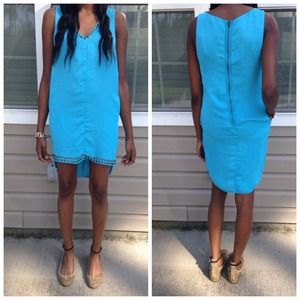 Urban Outfitters Turquoise Detail V-Neck Dress