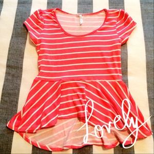Tops - Coral & White Striped Peplum Top