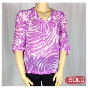 Zebra SPL Pink  3/4 sleeves sheer blouse