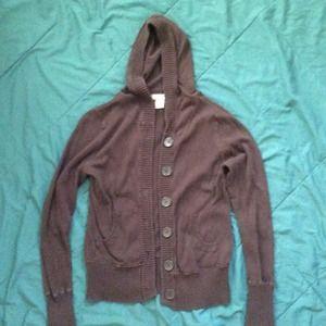 Sweaters - Dark Brown Hooded Sweater