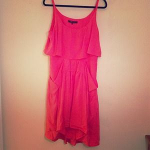 Bcbg coral silk dress. Size med. high low dress