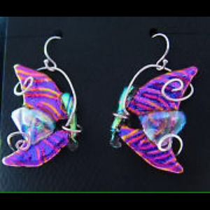 Handmade dichoric glass Butterfly earrings!!!