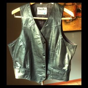 Black on Black Full Leather Vest