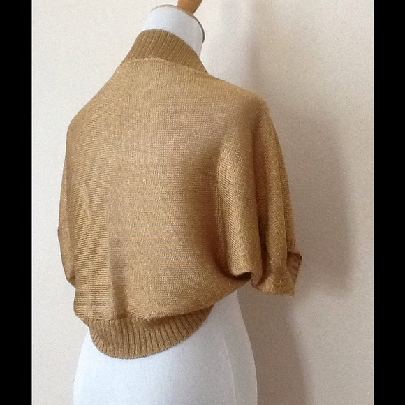 62% off Sweaters - XX SOLD XX. Metallic Gold Shrug from N's closet ...