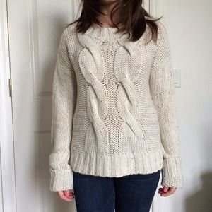 Chunky white cable knight sweater