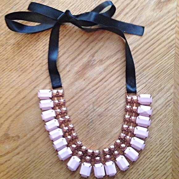 Jewelry - Pink and Bronze Ribbon Statement Necklace