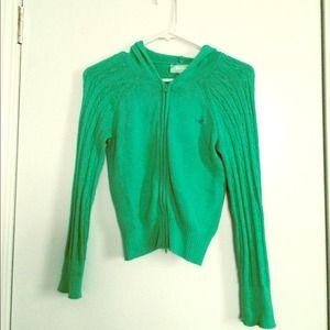 Hollister Green Zip Up Hoodie