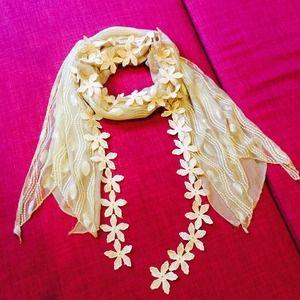 Vintage Floral Ivory Scarf