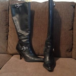Steve Madden knee high boots with buckle detail