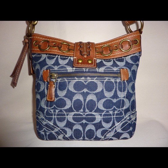 Coach Handbags - SOLD COACH BLUE JEAN DENIM WHISKEY LEATHER DUFFEL 2