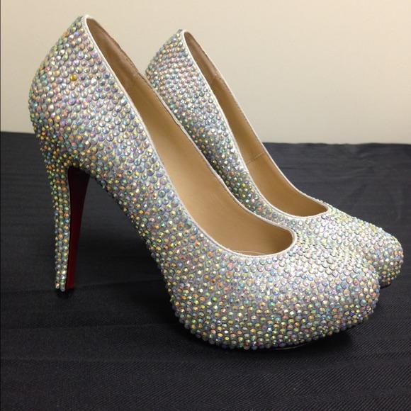 72% off Shoes - Crystal Iridescent Rhinestone Platform Pumps ...