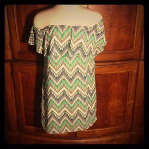 Off shoulder tribal print dress