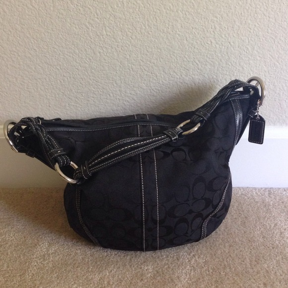 be9cefca78ac Coach Handbags - Coach black signature fabric satchel