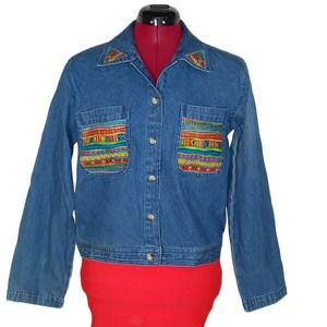 Vintage Tribal Detail Denim Jacket