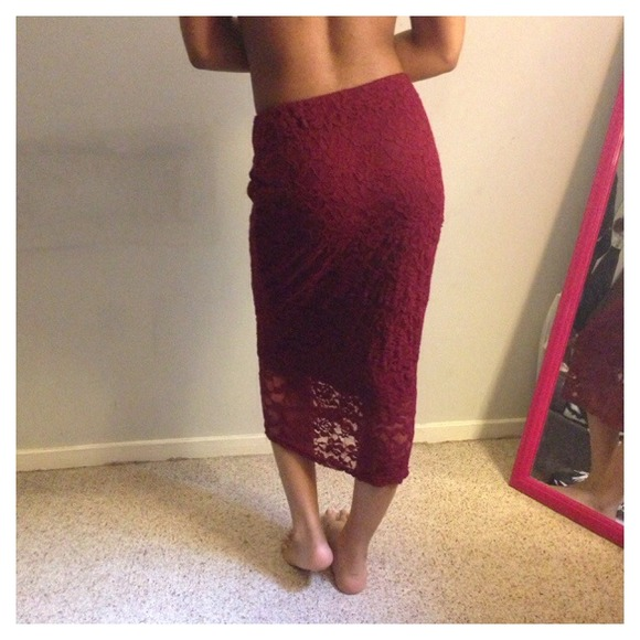 Forever 21 - Burgundy Lace Pencil Skirt  from Bria's closet on ...