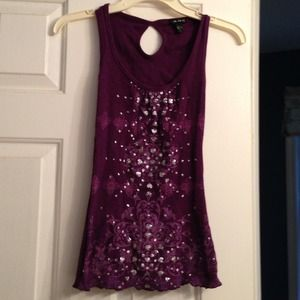 Purple tank top with silver glitter hearts