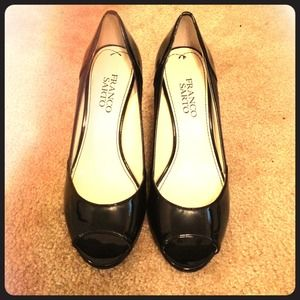 Franco Sarto black peep-toe pumps