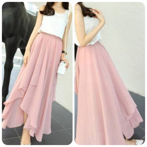 52% off Dresses & Skirts - Pink chiffon asymmetrical split maxi ...