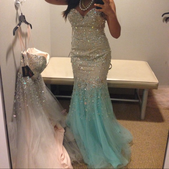 Glamour By Terani Couture Dresses Turquoise And Nude Color Trumpet