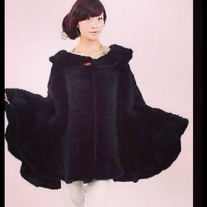 Knitted Mink Poncho (Knee Length)