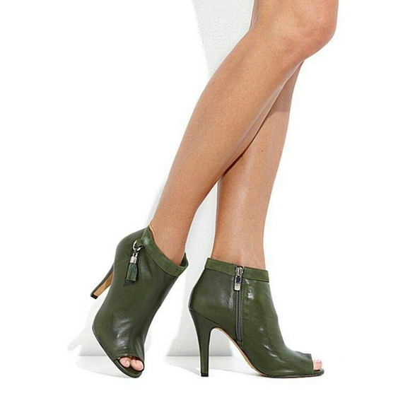 green peep toe boots