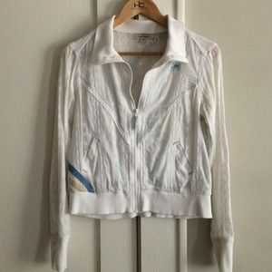 Free People cropped eyelet jacket in white
