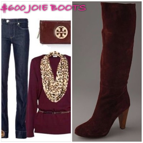 75 Off Joie Shoes 600 Joie Wine Burgundy Leather Knee