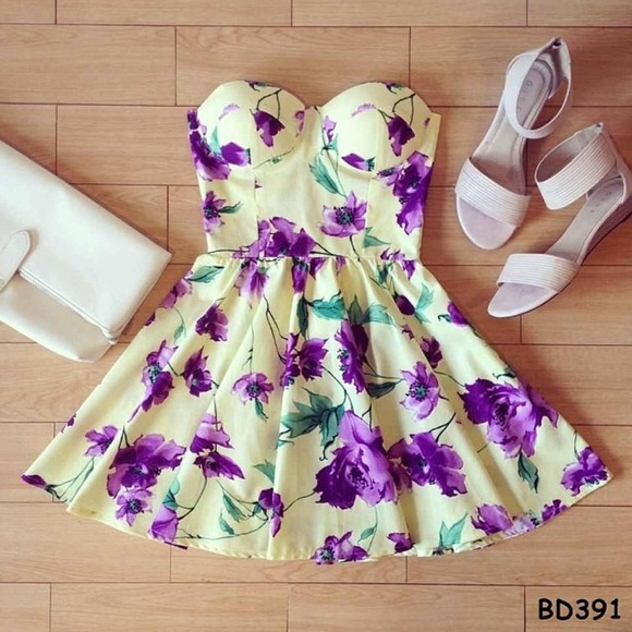 🎀Light Yellow Purple floral Summer Dress🎀 Small To Medium from ...