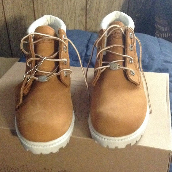 white and tan timberland boots