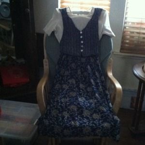 Dress cream Teal floral skirt attached stripe Vest