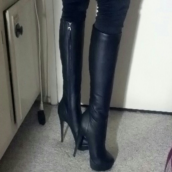 63 Off Shoedazzle Boots Black Stiletto Boots From Kiri