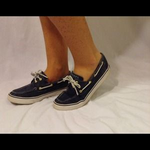 Navy and White Sperry top-siders