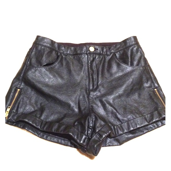 58% off Topshop Pants - Top Shop High Waisted Black Leather Shorts ...