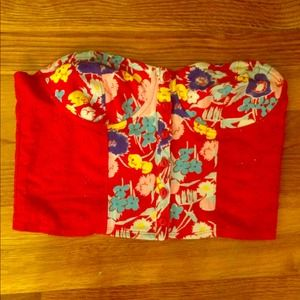 NWOT Urban outfitters floral cropped bustier top