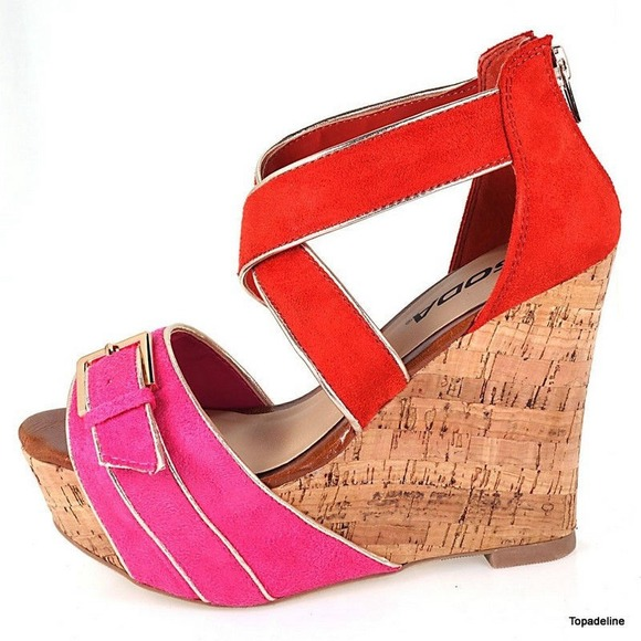 47 soda shoes new soda strappy fuchsia orange