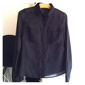 Topshop sheer button up top with front pockets