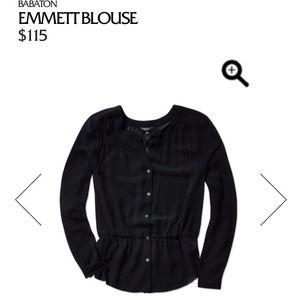 NWT 100% silk Aritzia Emmett black blouse sz S