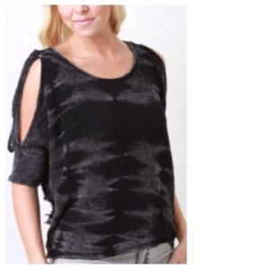 SALE Black Grey Distressed + Ripped Top