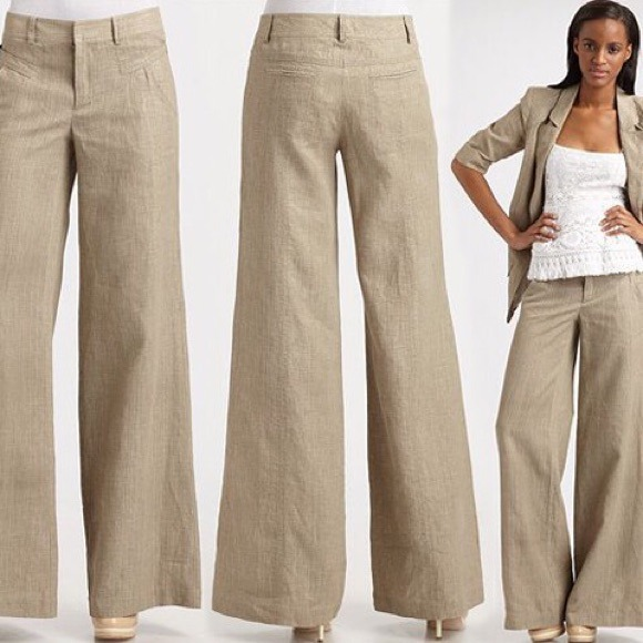 65% off Victoria's Secret Pants - 🎉5XHP🎉 VS Khaki Wide Leg Linen ...