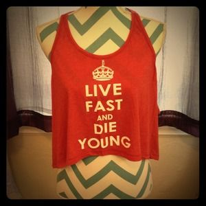 Kid Dangerous Other - NWOT Kid Dangerous Live Fast & Die Young Crop Tank