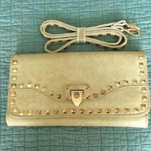 JustFab taupe studded clutch with cross body strap