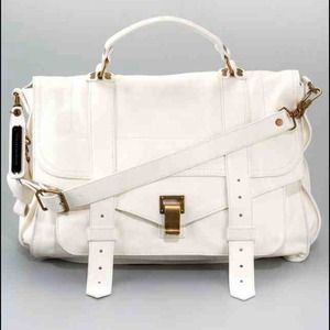Proneza Schouler PS1 large size white leather bag