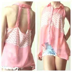 ⬇️PRICE REDUCED⬇️Pink Chevron Open Back Tank