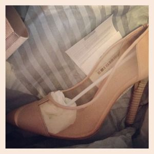 Reed Krakoff Nude Mesh Pointy Pumps