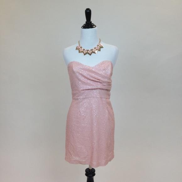 Blush Pink Bandeau Sequin Dress