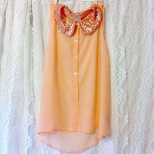 Peach Chiffon Button Up